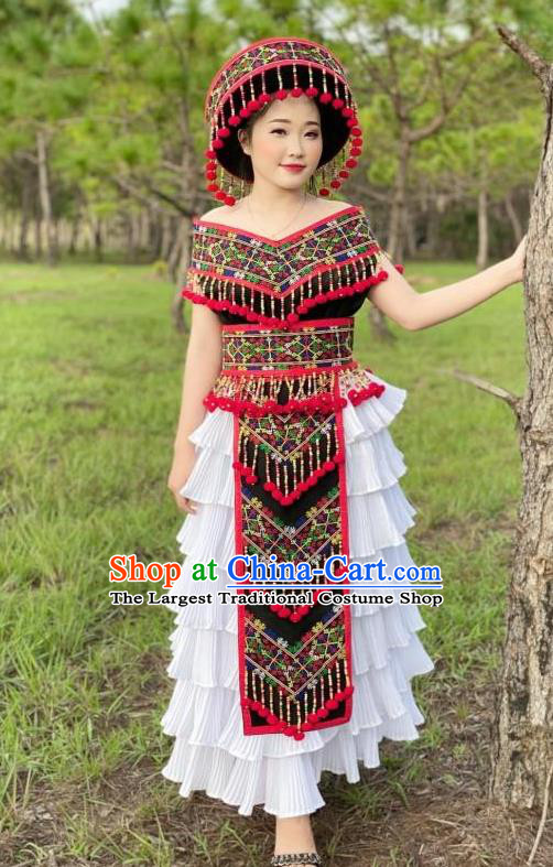 China Yunnan Yi Minority Women Dress Ethnic Nationality Stage Performance Embroidered Costumes and Headwear