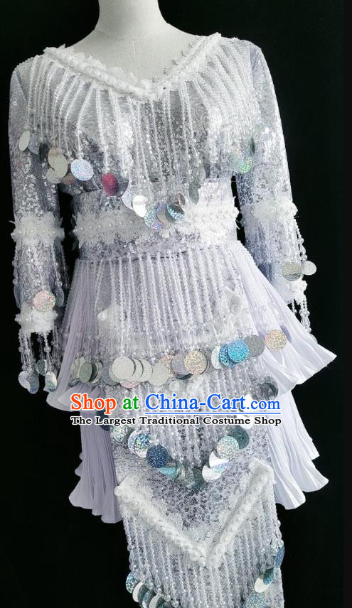 China Ethnic Argent Sequins Clothing and Headwear Minority Women Clothing Miao Nationality Folk Dance Costumes
