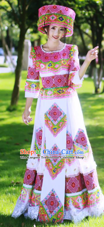 Guangxi Minority Bride Long Dress China Miao Ethnic Wedding Apparels Traditional Festival Celebration Women Costumes and Headwear