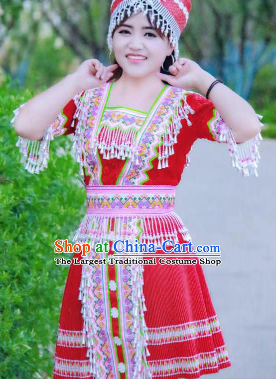 China Ethnic Apparels Miao Minority Folk Dance Red Short Dress Traditional Nationality Women Costumes and Hat