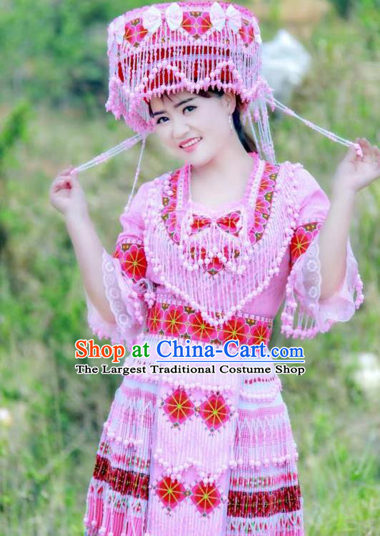 China Miao Ethnic Women Apparels Traditional Nationality Folk Dance Costumes Yunnan Minority Beads Tassel Short Dress and Hat