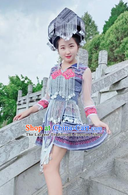 China Xiangxi Ethnic Women Apparels Traditional Miao Nationality Costumes Minority Folk Dance Short Dress and Headwear