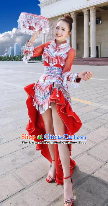 China Minority Women Red Dress Ethnic Folk Dance Apparels Traditional Miao Nationality Stage Performance Costumes and Headpiece
