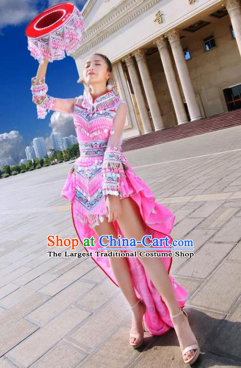 China Miao Nationality Stage Performance Costumes Minority Women Pink Dress Traditional Ethnic Folk Dance Apparels and Hat