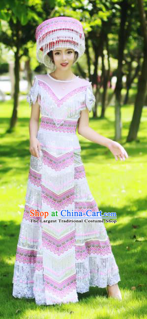Guizhou Miao Minority Sexy Dress Traditional Festival Celebration Dance Costumes China Ethnic Bride Apparels and Hat