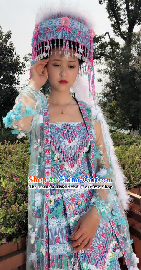 China Yunnan Minority Costumes Traditional Ethnic Folk Dance Apparels Miao Nationality Outer Wear and Short Dress and Hat