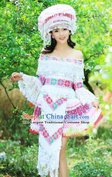 China Wenshan Miao Minority Costumes Traditional Yunnan Ethnic Folk Dance Apparels Nationality White Short Dress and Headwear