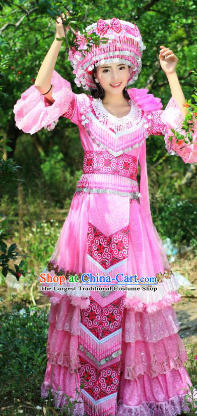 China Yao Minority Costumes Traditional Ethnic Folk Dance Apparels Tujia Nationality Bride Pink Long Dress and Headdress