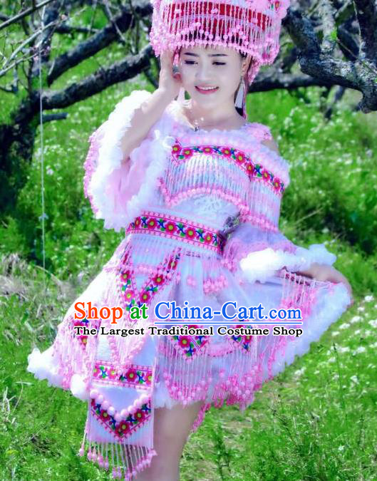 China Guizhou Minority Costumes and Headdress Nationality Bride Short Dress Traditional Ethnic Folk Dance Apparels