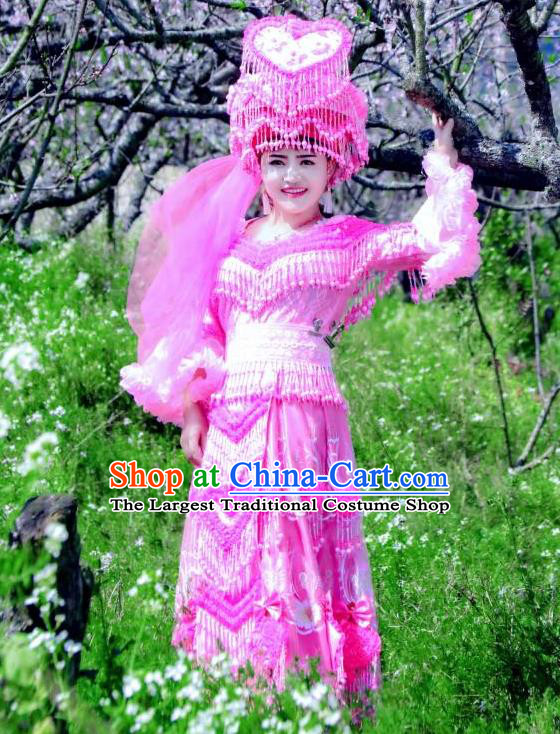 China Mengzi Minority Bride Costumes and Headdress Miao Nationality Wedding Dress Traditional Ethnic Stage Performance Apparels