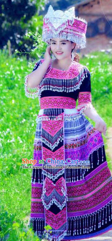 China Wenshan Miao Nationality Long Dress and Hat Traditional Ethnic Folk Dance Apparels Yunnan Minority Costumes