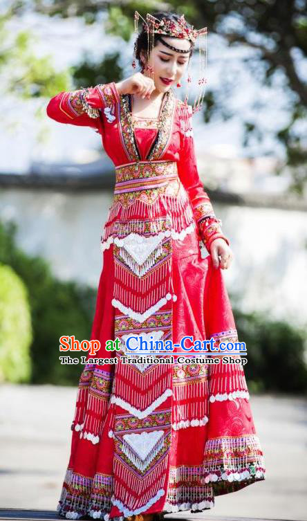 China Guizhou Nationality Traditional Red Long Dress Miao Minority Bride Costumes Ethnic Wedding Apparels and Hair Accessories