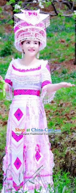 China Traditional Yao Ethnic Folk Dance Apparels Guizhou Minority Stage Performance Long Dress Nationality Wedding Costumes and Headdress