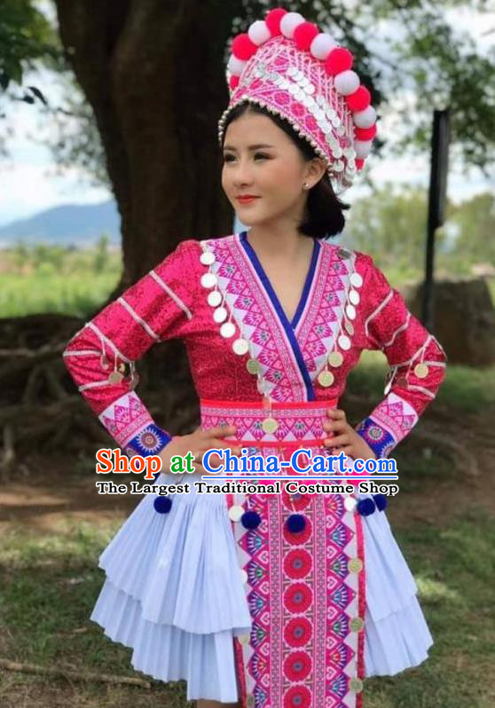 China Yi Minority Rosy Blouse and Skirt Ethnic Nationality Stage Performance Costumes Women Clothing and Headwear