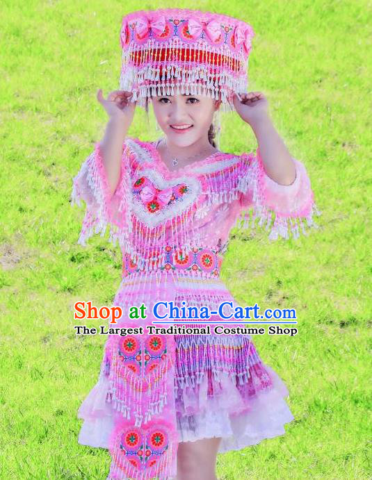 Wenshan Miao Ethnic Women Apparels Minority Folk Dance Costumes China Yunnan Nationality Pink Short Dress and Headpiece