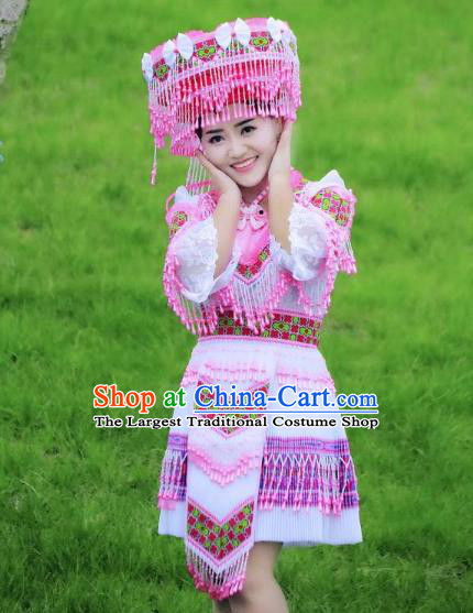 China Yunnan Wenshan Ethnic Women Apparels Minority Costumes Yao Nationality Folk Dance Short Dress and Hat
