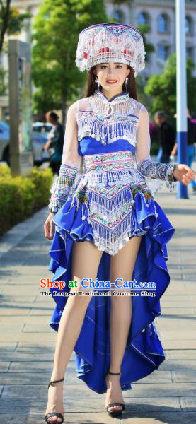 China Traditional Yi Ethnic Apparels Nationality Folk Dance Costumes Minority Stage Performance Royalblue Dress and Headdress