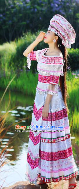 Traditional China Miao Ethnic Wedding Apparels Nationality Folk Dance Costumes Minority Stage Performance Long Dress and Hat
