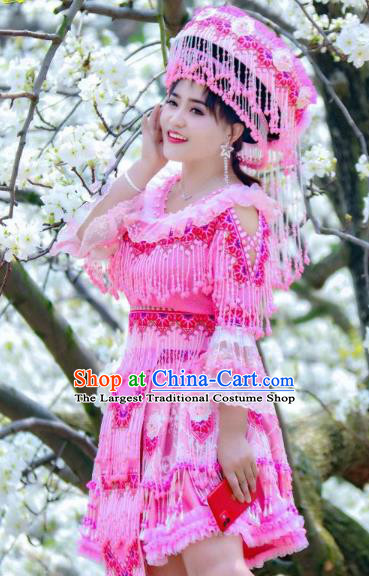 Bride Rosy Blouse and Short Skirt Travel Photography Ethnic Costumes with Hat China Miao Nationality Women Clothing