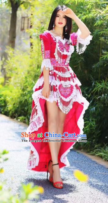 Stage Performance Rosy Blouse and Skirt China Miao Nationality Women Clothing Travel Photography Ethnic Costumes with Hat