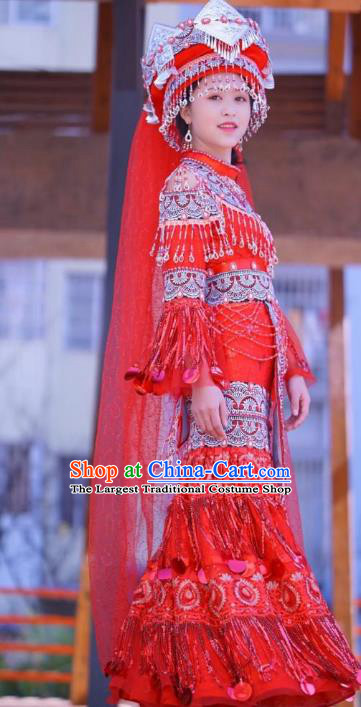 China Miao Ethnic Bride Red Wedding Dress Miao Nationality Women Clothing Folk Dance Costumes with Headwear