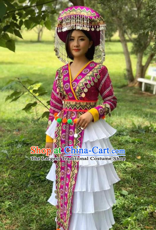 China Ethnic Rosy Blouse and Long Skirt Nationality Women Stage Performance Costumes Yi Minority Dance Clothing with Hat