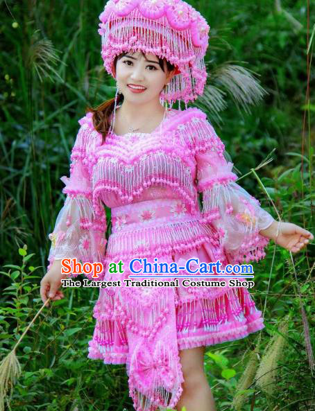 Fashion Miao Minority Costumes China Guizhou Folk Dance Clothing Travel Photography Pink Blouse and Skirt with Hat for Women