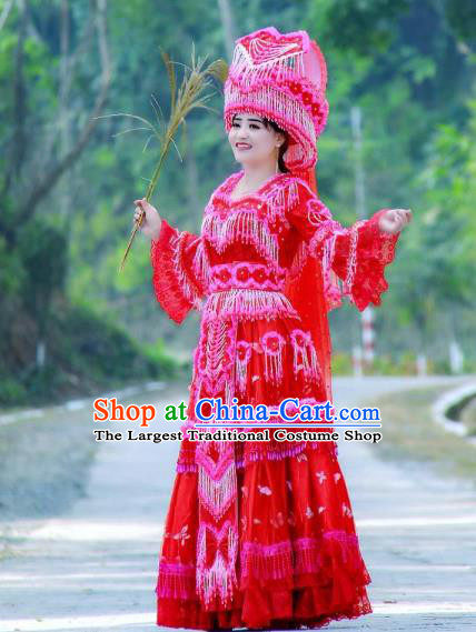 Fashion Miao Minority Wedding Costumes China Ethnic Folk Dance Clothing Travel Photography Bride Red Blouse and Long Skirt with Hat