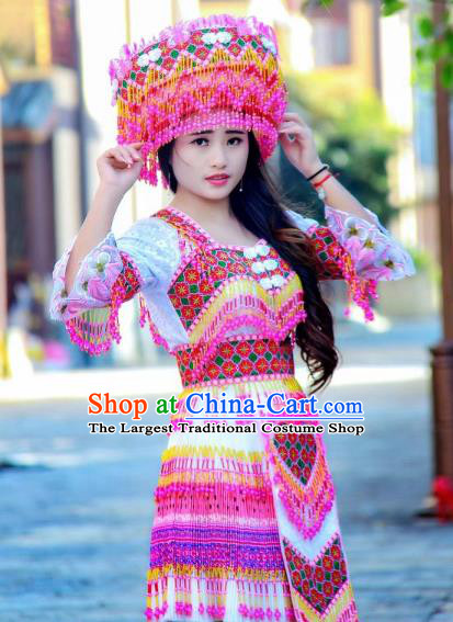 Fashion Yi Minority Female Costumes China Ethnic Folk Dance Clothing Travel Photography Beads Tassel Blouse and Short Skirt with Headwear