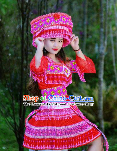 China Stage Show Costumes Fashion Yi Minority Female Costume Ethnic Folk Dance Red Clothing Travel Photography Dresses with Headwear