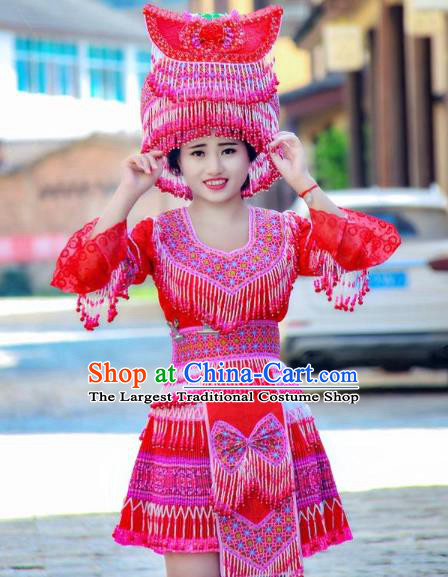 China Minority Stage Show Costumes Fashion Yi Ethnic Folk Dance Clothing Travel Photography Dress with Beads Tassel Hat