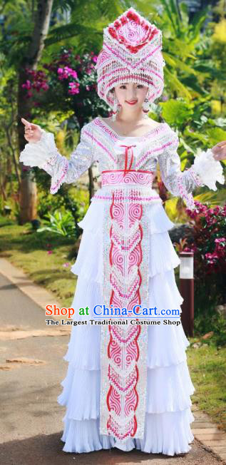 China Yunnan Miao Minority Costumes Travel Photography White Blouse and Long Skirt Wenshan Ethnic Women Fashion with Headdress