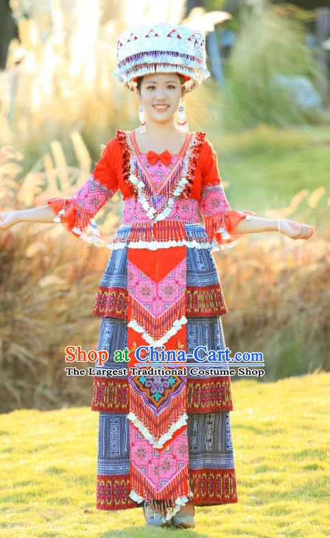 Miao Minority Folk Dance Costumes China Miao Ethnic Celebration Clothing Traditional Fashion with Hat
