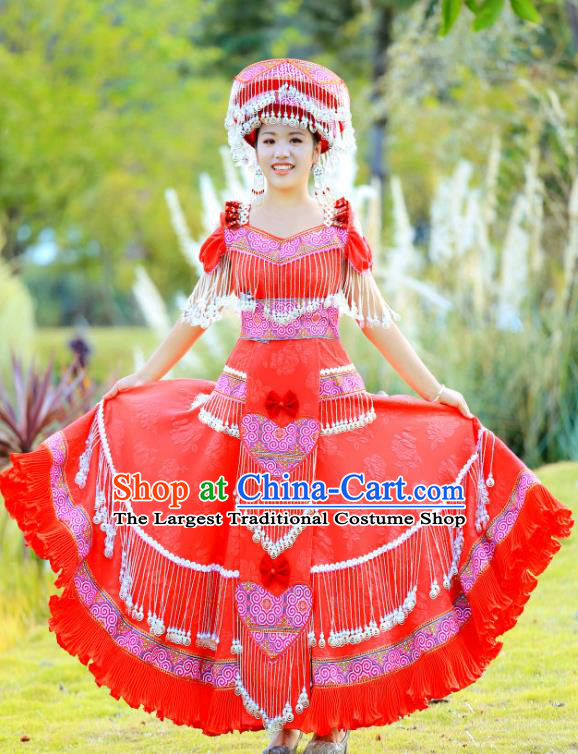 China Ethnic Bride Celebration Costume Traditional Miao Minority Nationality Clothing Wedding Dress with Headpiece