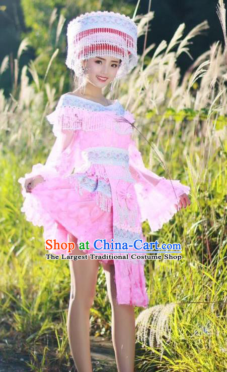 China Ethnic Miao Nationality Pink Blouse and Short Skirt Traditional Festival Costume Minority Celebration Dress with Headwear