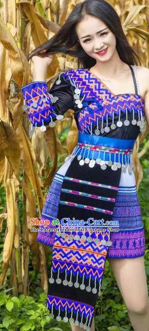 China Minority Nationality Stage Show Clothing Wenshan Miao Ethnic Traditional Costumes