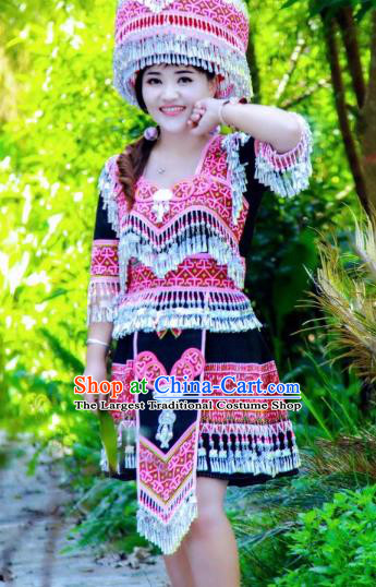 China Traditional Yao Ethnic Costumes Minority Nationality Folk Dance Clothing and Hat
