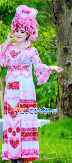 China Traditional Minority Nationality Costumes Folk Dance Dress Miao Ethnic Bride Clothing and Headdress