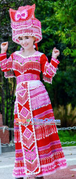 China Traditional Yi Nationality Costumes Minority Folk Dance Dress Miao Ethnic Bride Red Clothing and Headpiece
