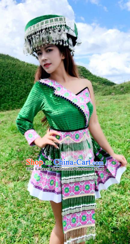 China Yunnan Tourist Attraction Photography Clothing Miao Minority Women Costumes Traditional Ethnic Folk Dance Green Short Dress and Hat