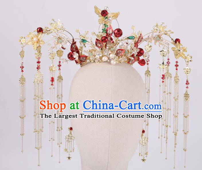 Chinese Wedding Phoenix Coronet Hair Accessories Traditional Bride Hairpins Xiuhe Suit Hair Crown Full Set