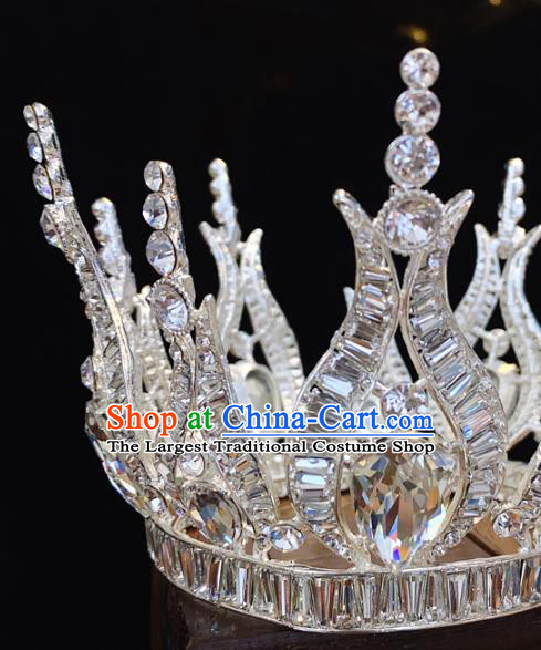 Top Grade Bride Crystal Accessories Europe Princess Wedding Hair Jewelry Handmade Round Argent Royal Crown