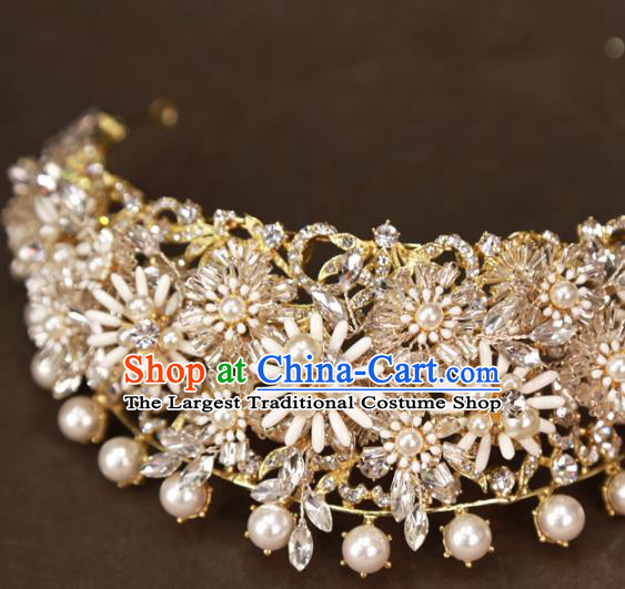 Europe Princess Pearls Royal Crown Hair Jewelry Bride Hair Accessories Wedding Daisy Hair Clasp