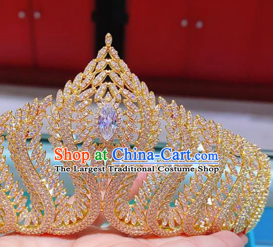 Top Europe Princess Hair Jewelry Wedding Bride Hair Accessories Baroque Golden Royal Crown