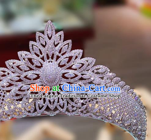 Top Europe Princess Zircon Royal Crown Wedding Bride Hair Accessories Baroque Hair Jewelry