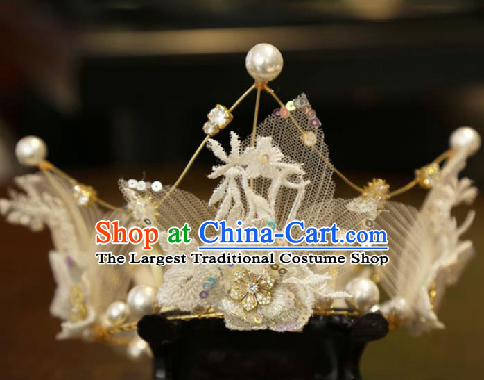 Top Europe Princess Hair Jewelry Wedding Lace Flower Royal Crown Handmade Bride Accessories