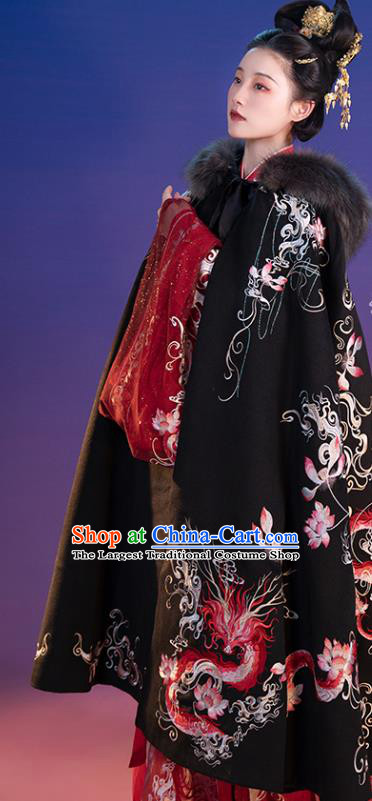 Traditional China Jin Dynasty Clothing Ancient Imperial Concubine Embroidered Black Cloak