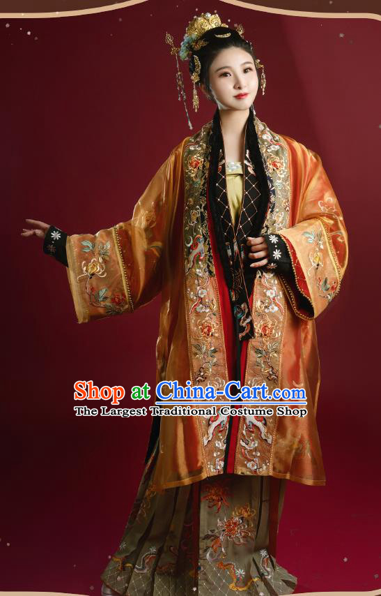 China Traditional Song Dynasty Historical Costumes Ancient Court Empress Embroidered Hanfu Clothing Full Set