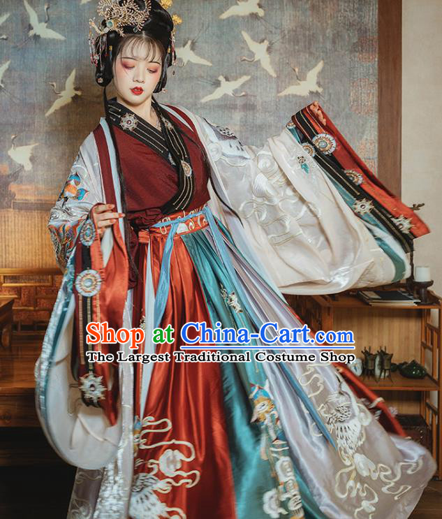 Ancient China Royal Infanta Hanfu Dress Clothing Traditional Jin Dynasty Palace Princess Embroidered Costumes Full Set
