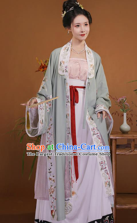 Ancient China Young Mistress Embroidered Costumes Traditional Song Dynasty Noble Lady Hanfu Dress Clothing